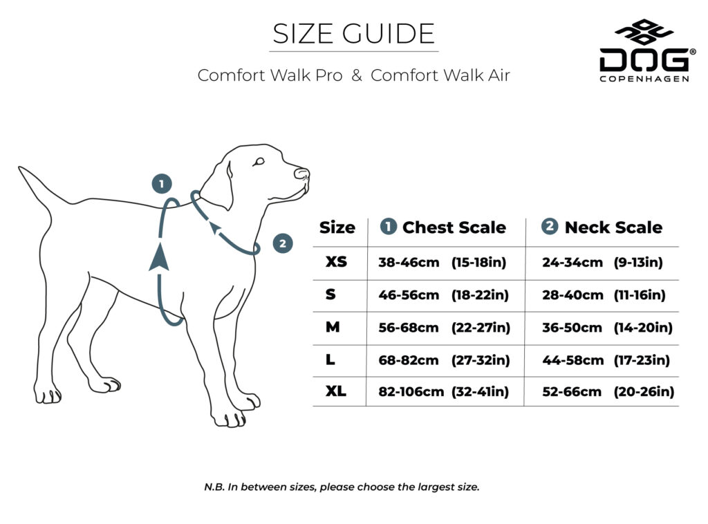 Maatvoering Comfort Walk Pro Air tuig Dog Copenhagen
